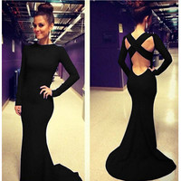Sexy Women Backless Prom Gown Bodycon Ball Party Evening Formal Maxi Long Dress Black