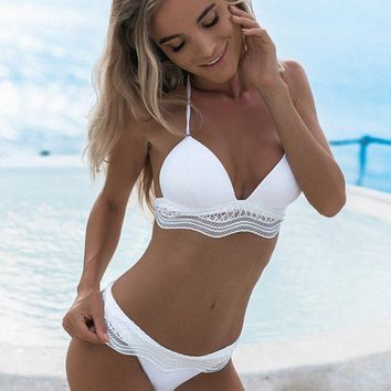 Sexy Pure Color High Waist Lace Bandage Halter Two Piece Bikini Swimsuit White