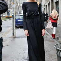 Black Long Sleeve Back Cut Out Maxi Dress