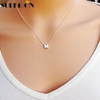 Fashion Silver Initial Charms Necklace Pendant Metal Letters For Jewelry Personalized Cut Letters Single M Necklaces Gold Chain
