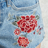 Embroidered Floral Denim Shorts