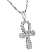 "Prong Set Ankh Cross Pendant White Gold Finish Stainless Steel Necklace 24"" Lab Diamonds Custom"