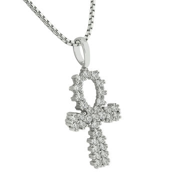 Prong Set Ankh Cross Pendant White Gold Finish Stainless Steel N 2746e68550eb