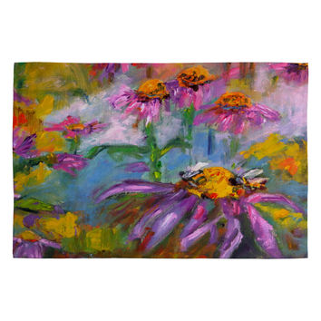 Ginette Fine Art Purple Coneflowers And Bees Woven Rug