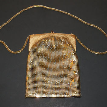 Vintage Whiting & Davis Evening Bag With Gold And Silver Mesh With Chain Strap And Snap Closure Circa 1940s To 1950s
