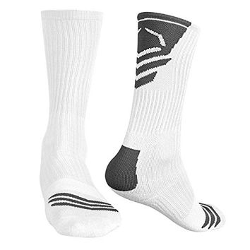 EvoShield Men's Performance Crew Socks, White Body with Grey, Large