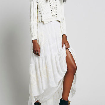 White Embroidered High Low Tiered Skirt