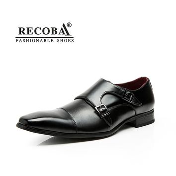 Men shoes casual luxury brand genuine leather black formal dress double monk buckle straps wedding brogues shoes zapatos hombre