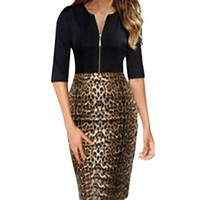 Women V-neck 2/3 Sleeve Leopard Slim Sexy Business Dress