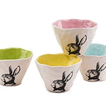 One Hundred 80 Degrees Colorful Rabbit Bowls (Set/4)