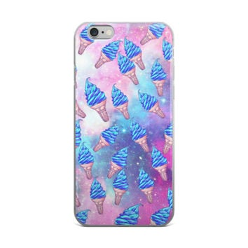 Blue Ice Cream Cone Collage In Space Beautiful Teen Cute Girly Girls Galaxy Tie Dye Bleach Girl Code Stars Pink & Sky Blue iPhone 4 4s 5 5s 5C 6 6s 6 Plus 6s Plus 7 & 7 Plus Case