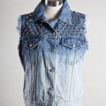 Ombre Dip Bleached Denim Jacket Vest with Round by shopbigbadwolf