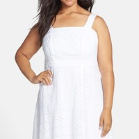 Plus Size Women's Adrianna Papell Eyelet Fit & Flare Dress