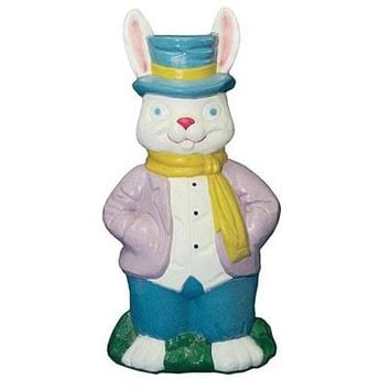 Lighted, Light Up Outdoor Yard Mr Easter Bunny Plastic Blow Mold Decoration