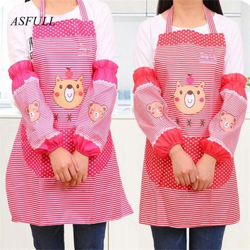 ASFULL hello kitty cute  set Kitchen  pinafore+arm sleeve Oil and dirt prevention Kitchen apron supplies  Free shipping