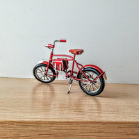 Vintage, red bicycle miniature, shabby, retro collectible, old style bike miniature, alloy red, decorative bicycle, early nineties