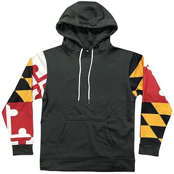 *PRE-ORDER* Maryland Flag Sleeve (Charcoal) / Hoodie (Estimated Ship Date: 4/01)