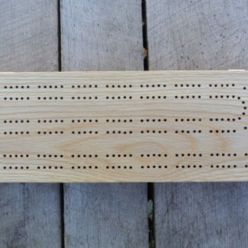 Wood Cribbage Board Box in Oak
