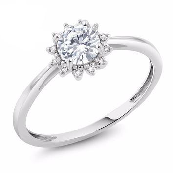 10K White Gold 0.50 Ct Round White Created Moissanite Diamond Ring