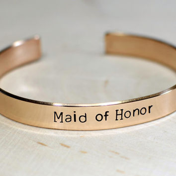 Bronze Wedding Cuff Bracelet for the Maid of Honor - BR696