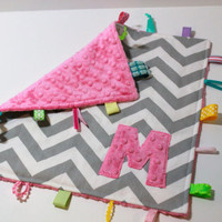 Personalized Pink Grey Chevron taggie blanket - Baby tag Lovey Security Sensory Ribbon Stroller Travel Minky