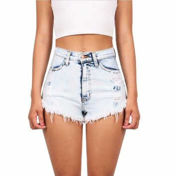 Summer Women's Fashion Tassel White Denim Shorts Loose Vintage High Waist Shorts Sexy Short Jeans