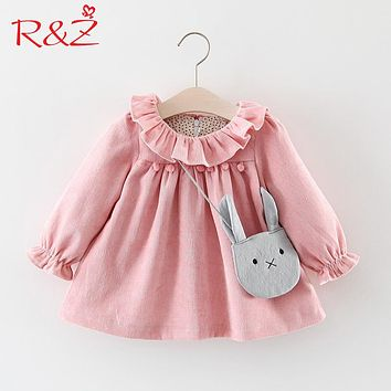 R&Z Baby Girls Dresses 2017 Autumn Lovely Long-sleeved Lotus Leaf Collar Pocket Doll Dress + Bag 2Pcs Kids Children Clothing