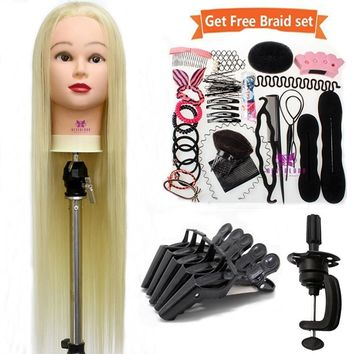 26'' Synthetic Hair Hairdresser Training Mannequin Female Dummy Head Practice Head For Hair Styling Cutting Tools + Braids Set
