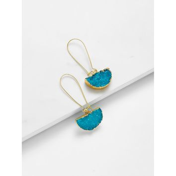 Half Circle Design Drop Earrings Turquoise