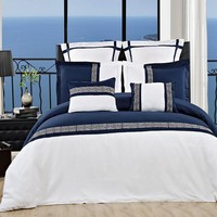 Astrid Navy/White Embroidered 7 Piece Duvet Cover Set