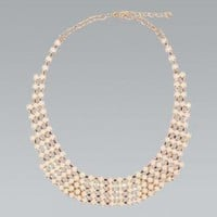 Cream Faceted Stone Statement Collar Necklace