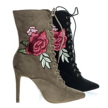 Akira147A Taupe Beige By Wild Diva, Corset Combat Boot w Rose Metallic Embroidered Stitch High Heel