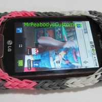 Cell Phone Case Rainbow Loom - Rubber Band Custom Charm iPhone Samsung Galaxy Gift Neon Pink. Grey.