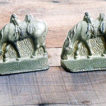 Bookends, Cowboy Horses, Brass over Cast Iron, Collect, Home Decor, Library, Art, Housewares