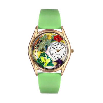 Whimsical Watches Healthcare Nurse Gift Accessories Frogs Green Leather And Goldtone Watch