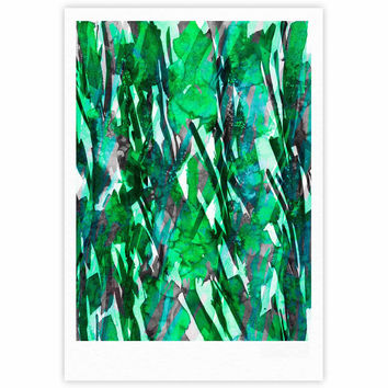"Ebi Emporium ""Frosty Bouquet 7"" Green Abstract Fine Art Gallery Print"