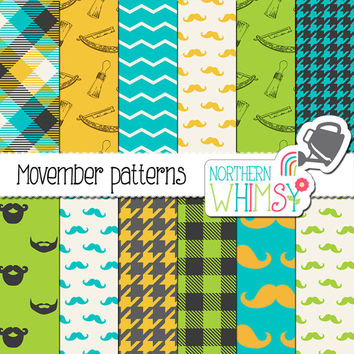 Mustache Digital Paper Pack – Movember digital papers with hipster mustache, beard & shaving themed pages – printable paper - commercial use