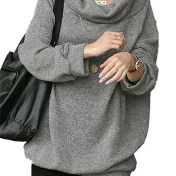 Women Cowl Neck Loose Over Size Knit Pullover casual outerwear (XL/XXL, Light Grey)