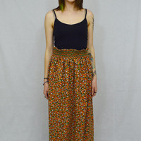 Groovy Floral Skirt Retro 70s MED Large Hippie Boho Maxi Skirt Vintage Womens Clothing Orange Green High waist Bohemian Tiny Flowers Retro