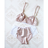 Delicate 'Ballet' Pink Satin Bra and Panties Set  Handmade Heirloom Lingerie