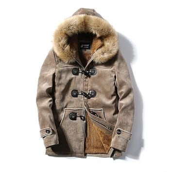jaqueta masculina thick men Plus velvet jacket male Deer skin leather couple hooded winter jackets and coats cotton parka man