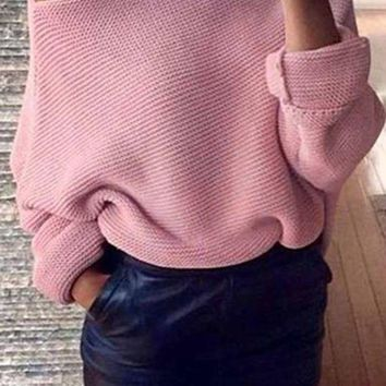 DCCK7XP Women's Off Shoulder Sweater - Loose Fitting