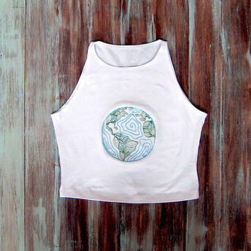 Embroidered Earth Crop Top-White Yoga Top-Boho Crop Top-Sleeveless Crop Top-American Apparel Earth Crop Top
