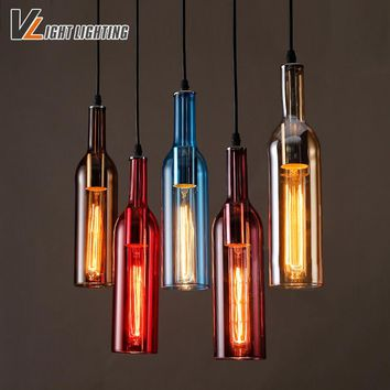 Vintage Industrial Loft Colorful Red Wine bottle Glass Ceiling Light