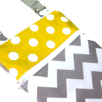 Grey chevron with yellow polka dot sling purse cross body bag adjustable strap small travel hipster bag