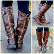 SZ 10 Creek Stone Brown Gold Buckle Riding Boots-OUT OF BOX