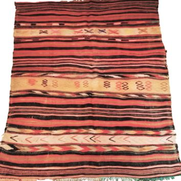 Moroccan Hanbel Reversible Wool Kilim Rug - Hand Woven Multi Color Palette - 58 x 47 inches