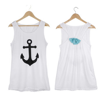 Fashion Anchor Fancy Sleeveless Tee Shirt Bowknot Summer Simple Vest Sexy Top T-Shirt Backless Sports