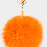 Large Rabbit Fur Pom Pom Keychain, Key Ring Bag Pendant Accessory - Orange