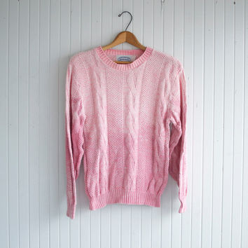 SALE / Pastel Pink Ombre Dyed Sweater - S
